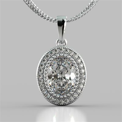 2.74CT Oval Cut Prong Set Double-Tier Halo Pendant