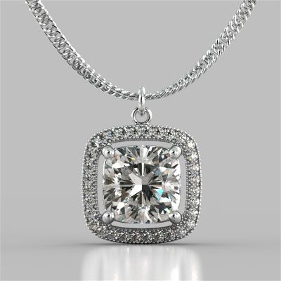 2.27CT Cushion Style Halo Pendant with Round Cut Center Stone