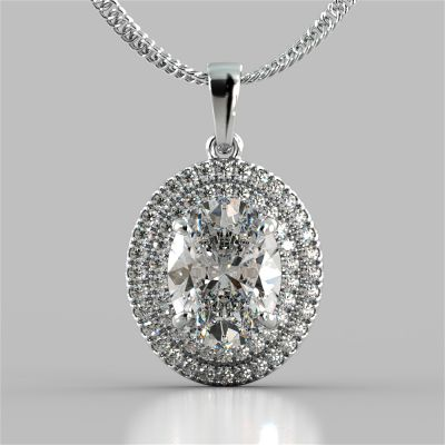 3.45CT Oval Cut Prong Set Double Tier Halo Pendant