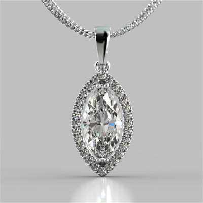 2.21CT Marquise Cut Drop Style Stud Pendant
