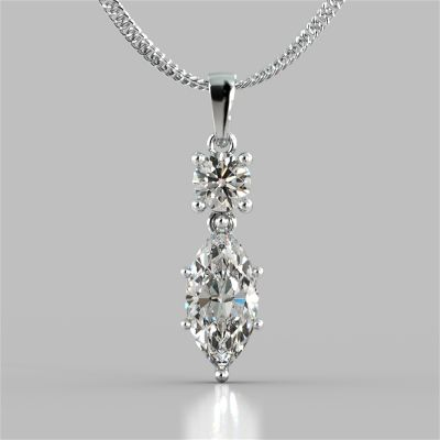 2.46CT Marquise Cut Drop Style Pendant