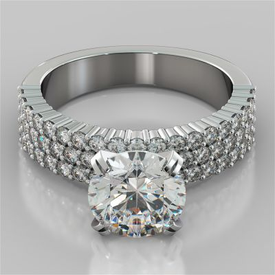 Round Cut Brilliant Pavé-Style Engagement Ring
