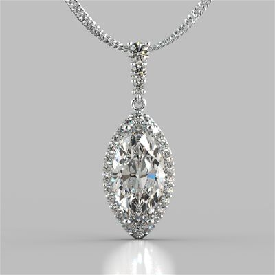 3.31CT Marquise Cut Drop Style Slider Bail Pendant
