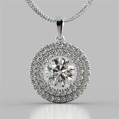 2.75CT Round Cut Double Pave Style Halo Pendant