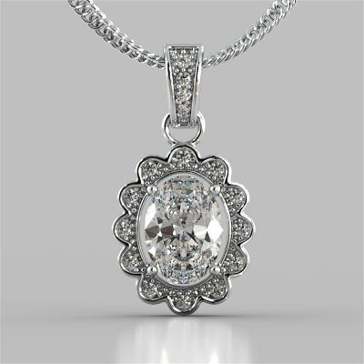 1.65CT Oval Cut Halo Pendant