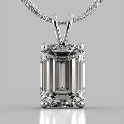 "Emerald Cut Solitaire Pendant With 16"" Diamond Cut Cable Chain"
