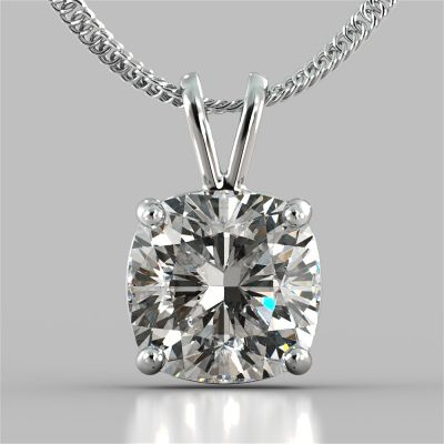 "Cushion Cut Solitaire Pendant With 16"" Diamond Cut Cable Chain"