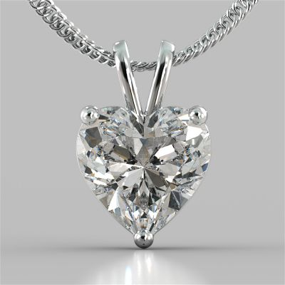 3.0Ct Heart Cut Solitaire Pendant With Diamond Cut Cable Chain in 14K White Gold