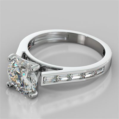 Round Cut Engagement Ring With Baguettes Accents