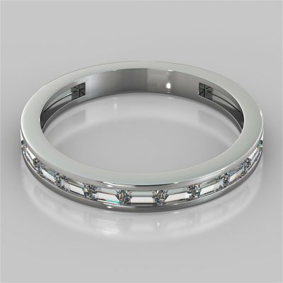 Channel Set Baguettes Wedding Band