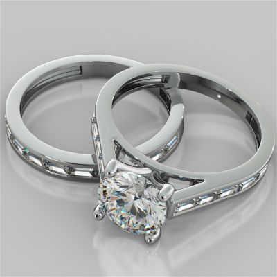 Round Cut and Baguettes Wedding Set
