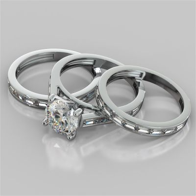Round Cut Wedding Set With 2 Matching Wedding Bands And Baguette Accents