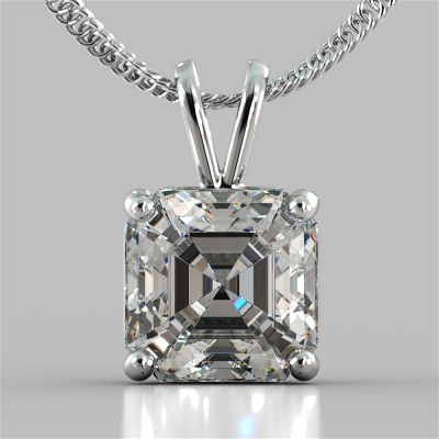 "Asscher Cut Solitaire Pendant With 16"" Diamond Cut Cable Chain"