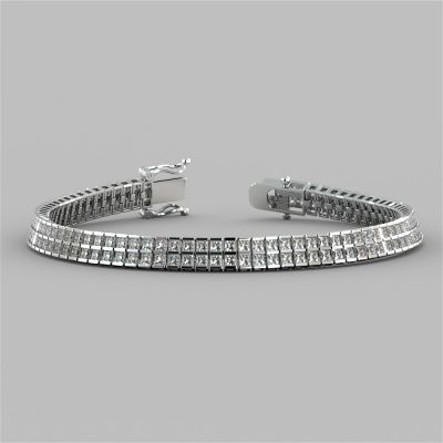 Princess Cut Double Tier Tennis Bracelet