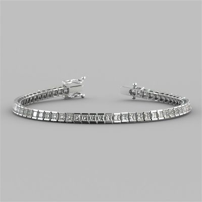 Princess Cut Channel Set Tennis Bracelet