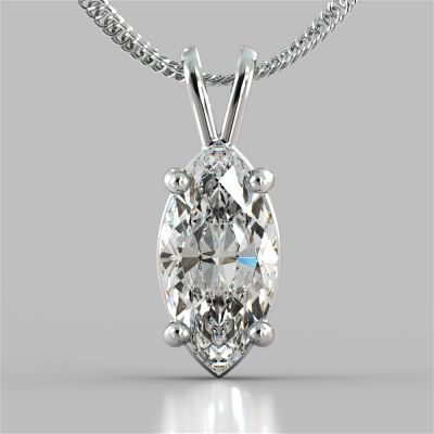 "Marquise Cut Solitaire Pendant With 16"" Diamond Cut Cable Chain"