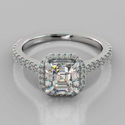 Asscher Cut Halo Engagement Ring With Accents