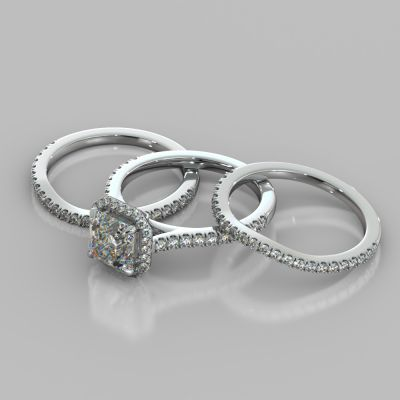 Asscher Cut Halo Trio Wedding Set With Accents