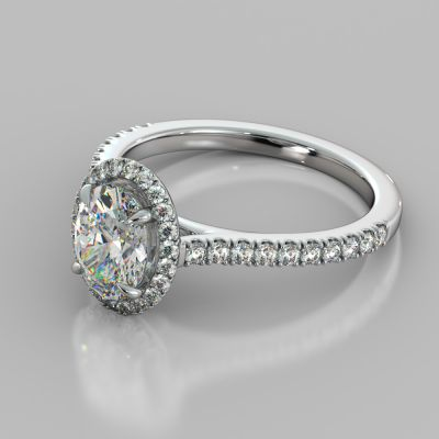 Oval Cut Halo Engagement Ring With Accents