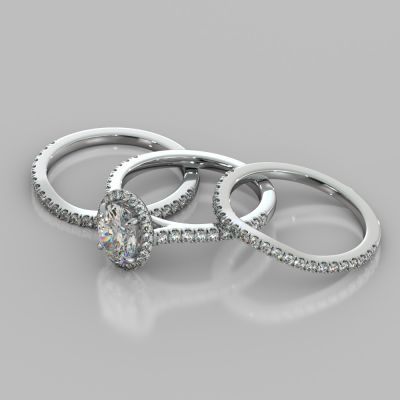 Oval Cut Halo Style Trio Wedding Set With Accents