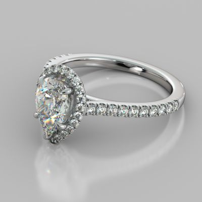 Pear Cut Halo Engagement Ring With Accents