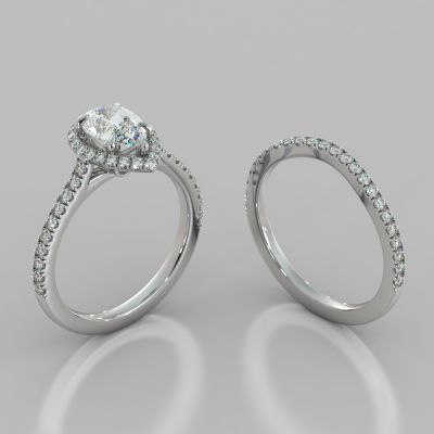 Pear Cut Halo Wedding Set With Accents