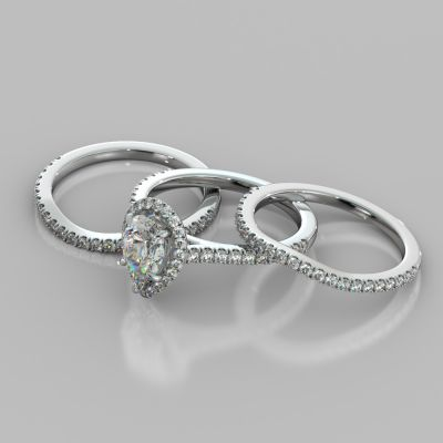 Pear Cut Halo Trio Wedding Set With Accents