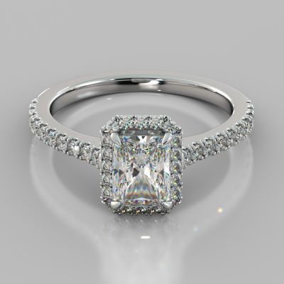Radiant Cut Halo Engagement Ring With Accents