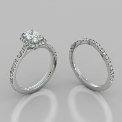 Radiant Cut Halo Wedding Set With Accents