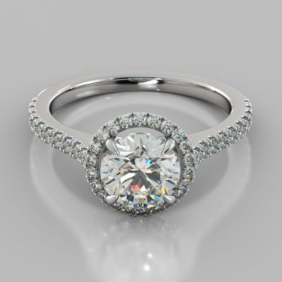 Round Cut Halo Engagement Ring With Accents