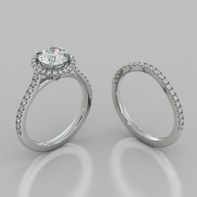 Round Cut Pavé Halo Wedding Set With Accents