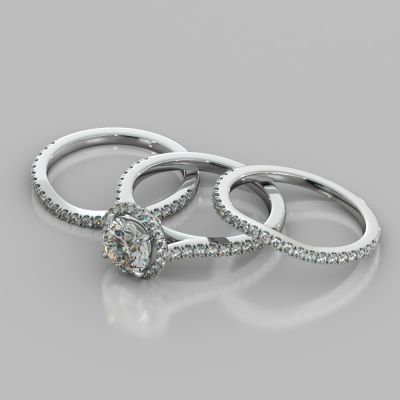 Round Cut Halo Trio Wedding Set With Accents