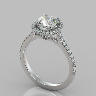 Cushion Halo Engagement Ring With Accents
