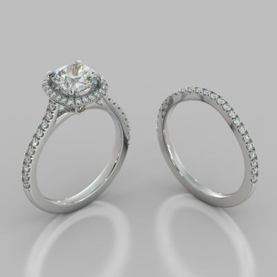 Cushion Cut Halo Style Wedding Set With Accents