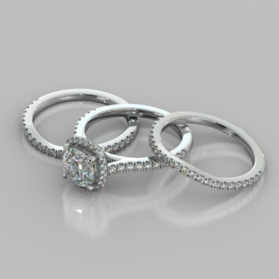 Cushion Cut Halo Style Trio Wedding Set With Accents