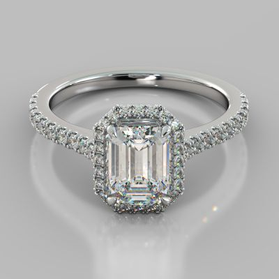 Emerald Cut Halo Engagement Ring With Accents