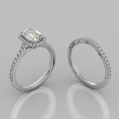 Emerald Cut Halo Wedding Set With Accents