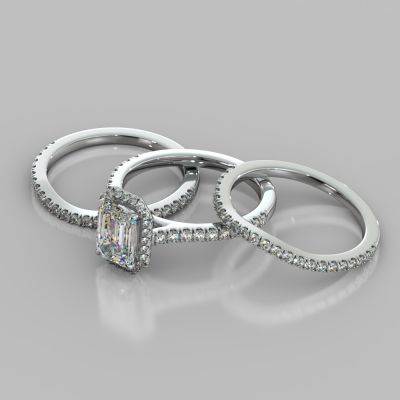 Emerald Cut Halo Style Trio Wedding Set With Accents