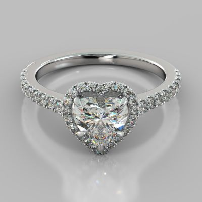 Heart Cut Halo Engagement Ring With Accents