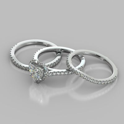 Heart Cut Halo Style Trio Wedding Set With Accents