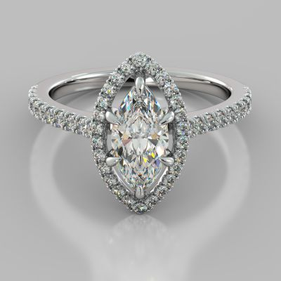 Marquise Cut Engagement Ring With Pavé Halo