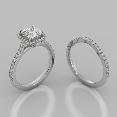 Princess Cut Halo Wedding Set With Accents