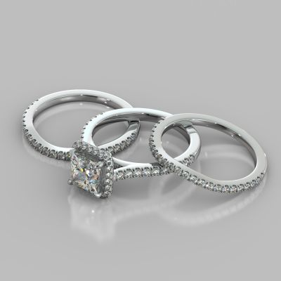 Princess Cut Halo Style Trio Wedding Set With Accents