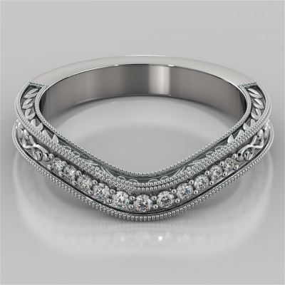 Round Cut Wedding Band with Milgrain and Scroll design