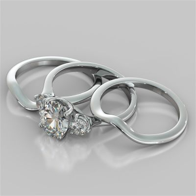 Oval Cut Three-Stone Trio Wedding Set
