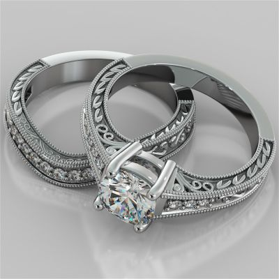 Cushion Cut Filigree Wedding Set