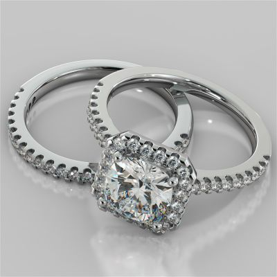 Cushion Cut Scalloped-Halo Wedding Set