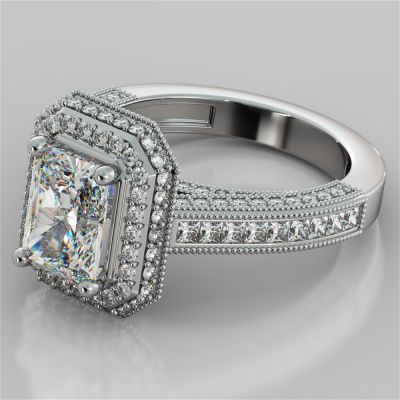 Double Tier Halo Radiant Cut Engagement Ring