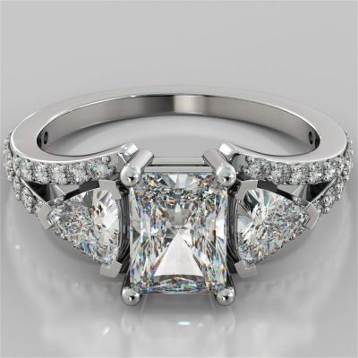 2.68Ct Radiant Cut Split Shank Engagement Ring Available in 14K White Gold