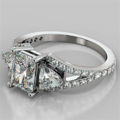 Radiant Cut Split Shank Engagement Ring